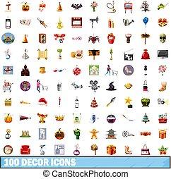 100 decor icons set, cartoon style