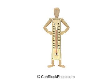 100, degrés, thermomètre