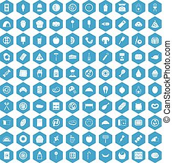 100 delicious dishes icons set blue