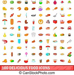 100 delicious food icons set, cartoon style