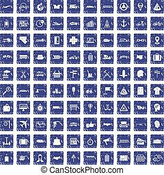 100 delivery icons set grunge sapphire