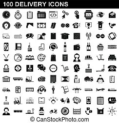 100 delivery icons set, simple style
