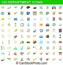 100 department icons set, cartoon style