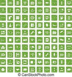 100 department icons set grunge green