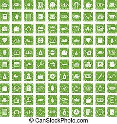 100 deposit icons set grunge green