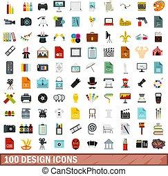 100 design icons set, flat style