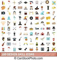 100 design skill icons set, flat style
