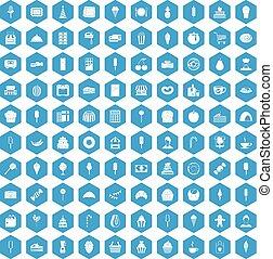 100 dessert icons set blue