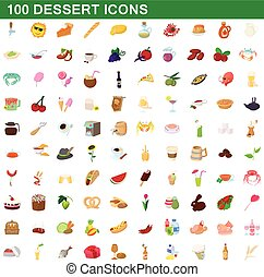 100 dessert icons set, cartoon style