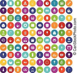 100 dessert icons set color