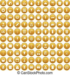 100 dessert icons set gold