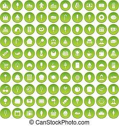 100 dessert icons set green