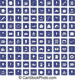 100 dessert icons set grunge sapphire