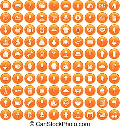 100 dessert icons set orange