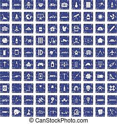 100 development icons set grunge sapphire