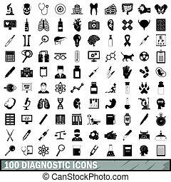 100, diagnóstico, iconos, conjunto, simple, estilo