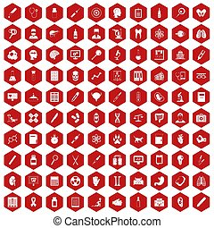 100 diagnostic icons hexagon red