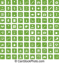 100 diagnostic icons set grunge green