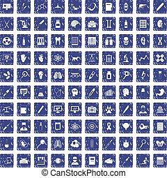 100 diagnostic icons set grunge sapphire