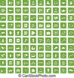 100 dialog icons set grunge green