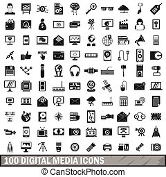 100 digital media icons set, simple style