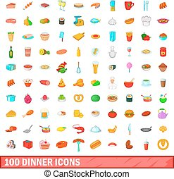 100 dinner icons set, cartoon style