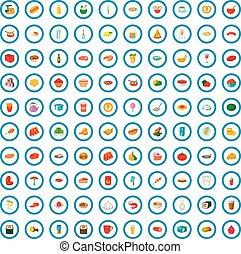 100 dinner icons set, cartoon style
