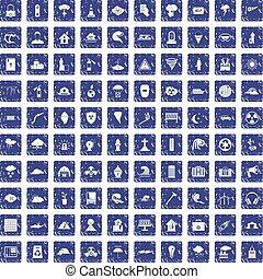 100 disaster icons set grunge sapphire