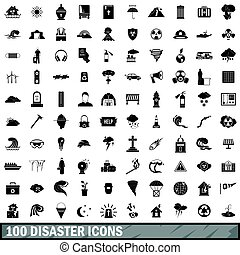 100 disaster icons set, simple style