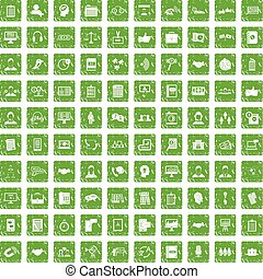 100 discussion icons set grunge green