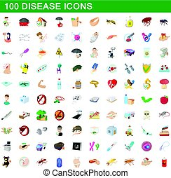100 disease icons set, cartoon style