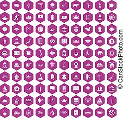100 dish icons hexagon violet