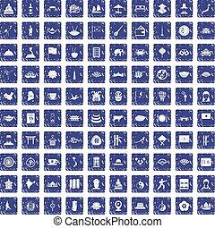 100 dish icons set grunge sapphire
