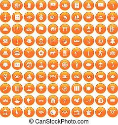 100 dish icons set orange