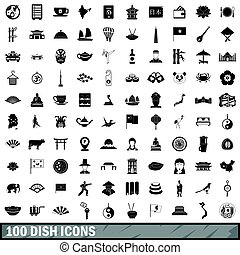 100 dish icons set, simple style