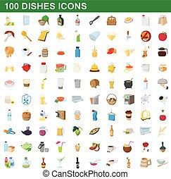100 dishes icons set, cartoon style
