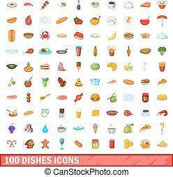 100 dishes icons set, cartoon style