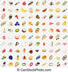 100 dishes icons set, isometric 3d style