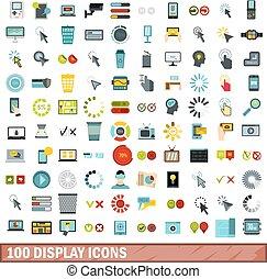 100 display icons set, flat style