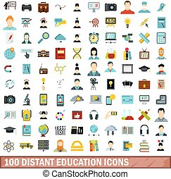 100 distant education icons set, flat style