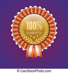 100%, distintivo, garanzia