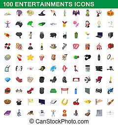 100, divertimentos, estilo, caricatura, jogo, ícones