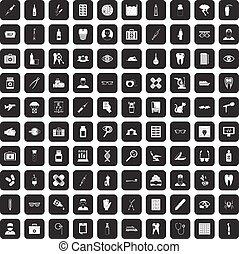 100 doctor icons set black