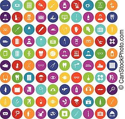 100 doctor icons set color