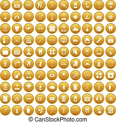 100 doctor icons set gold