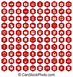 100 document icons hexagon red