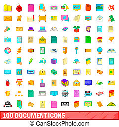 100 document icons set, cartoon style
