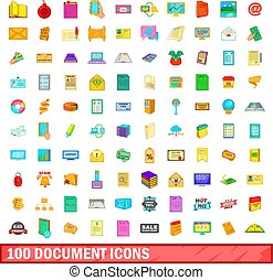 100 document icons set, cartoon style
