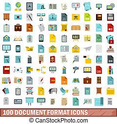 100, documento, stile, formato, set, icone, appartamento