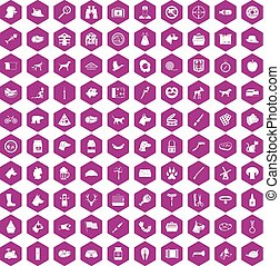 100 dog icons hexagon violet